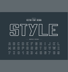 line font and bold alphabet writing typeface and vector image
