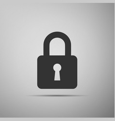 lock icon isolated on grey background vector image