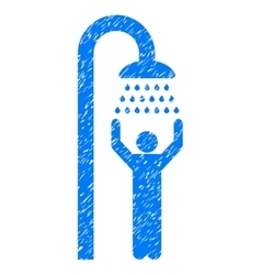 Man Under Shower Grainy Texture Icon vector image