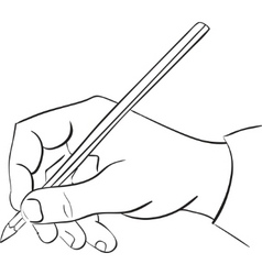 Mans hand holds a pencil vector