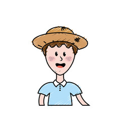 Nice man with hat and t-shirt vector
