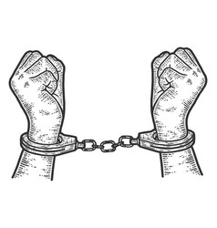 Offender male hands in handcuffs sketch scratch vector