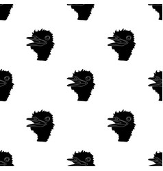 ostrich icon in black style isolated on white vector image