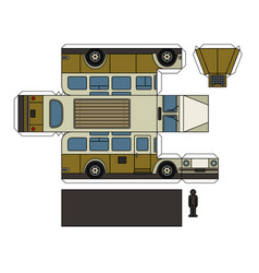 paper model of a vintage bus vector image