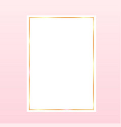 Pink backgroundwith a golden frame on white paper vector