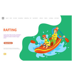 rafting summer water sports people in team vector image