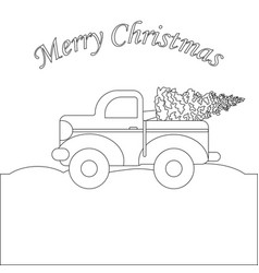 Red truck with christmas tree coloring page vector