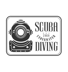 Scuba underwater diving est 1969 vintage logo vector