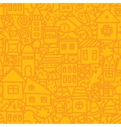 Seamless doodle city pattern vector image