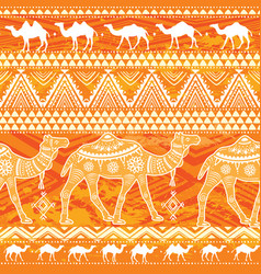 Seamless pattern with camels and ethnic motifs vector