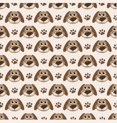 Seamless pattern with cute dogs and paw prints vector