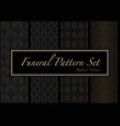 Set dark patterns in gold and black colors vector