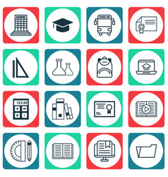 Set of 16 school icons includes academy document vector