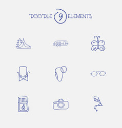 set of 9 editable trip icons includes symbols vector image