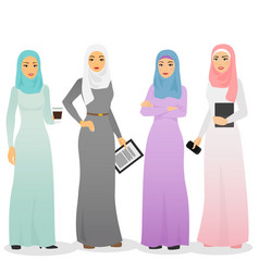 Set of business arab women vector