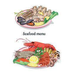 sketch colorful seafood menu concept vector image