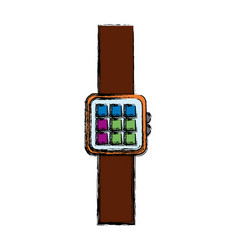Smart watch device display with app technology vector