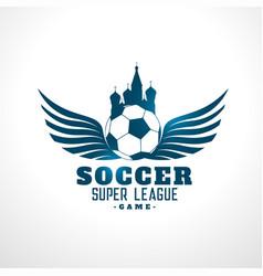 soccer russia tournament league label design vector image
