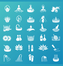 spa and beauty icons set on turquoise background vector image