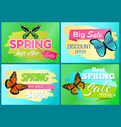 Spring big sale 50 off labels set with butterflies vector