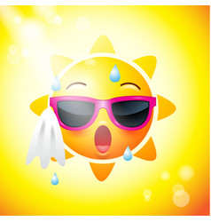 Sun face icons or yellow funny faces in vector