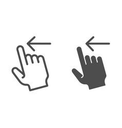 Swipe left line and glyph icon flick left vector