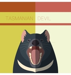Tasmanian devil flat postcard vector