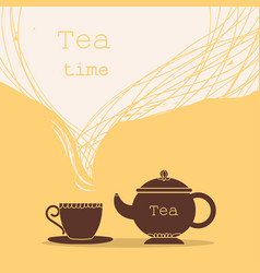 time for teacup tea and teapot for text vector image