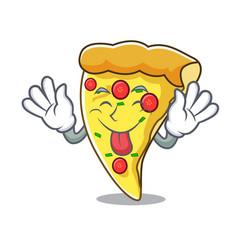 Tongue out pizza slice mascot cartoon vector