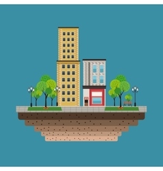 Town buildings shops blue background vector