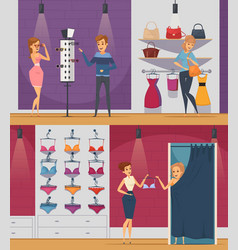 Trying shop flat people compositions vector
