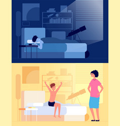 waking up child kid sitting on bed in bedroom vector image