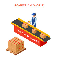 Warehouse manager or warehouse worker with bar vector