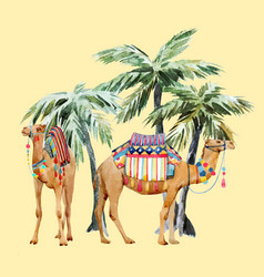 watercolor camel and palm composition vector image