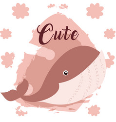Whale cute animal cartoon vector