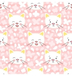 White kitten seamless pattern vector image