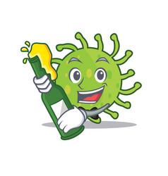 With beer green bacteria mascot cartoon vector