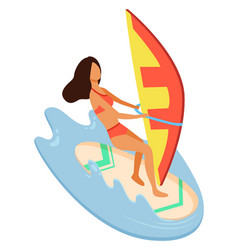 woman wearing swimming suit windsurfing vector image