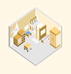 yellow bedroom isometric home interior design vector image