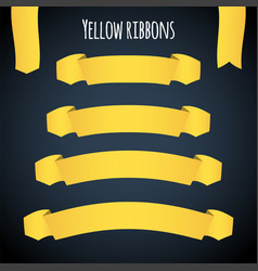 yellow ribbon banners set beautiful blank vector image