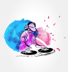 Background with DJs vector image vector image