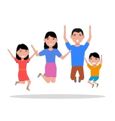 cartoon jumping of happiness family vector image vector image