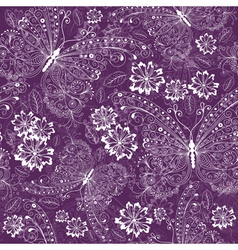 violet seamless floral pattern vector image