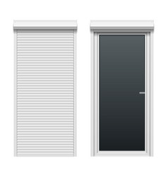 door with rolling shutters close and open vector image