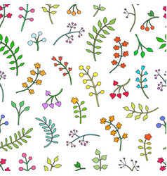 floral seamless pattern with leaves and vector image