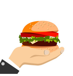 hand holding a burger vector image