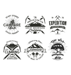 Vintage mountaineering badges set climbing logo vector