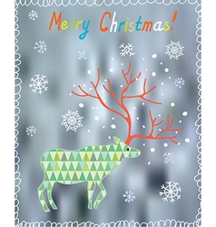 Merry Christmas card with ornate deer and snow vector image