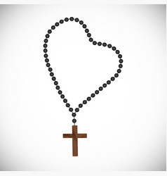 rosary with black pearls with a wooden cross vector image vector image