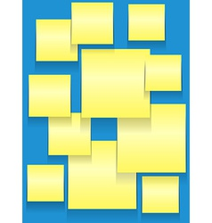 Sticky squares on blue vector image